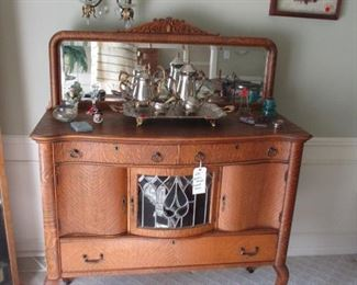 Oak antique sideboard with leaded glass