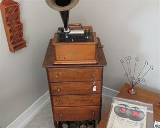 Edison Talking Machine with cabinet and rolls