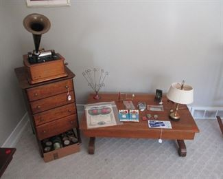 Oak coffee table and miscellaneous