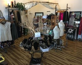 boutique full of women's clothing, accessories, and assorted fixtures and equipment