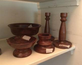 Wooden candle sticks & bowls