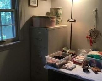 File cabinet, lamp, pictures, miscellaneous