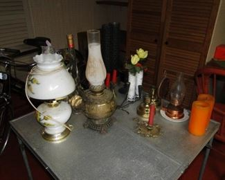 Misc. lamps and glassware