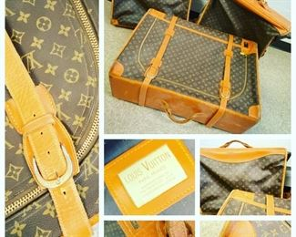 Vintage Louis Vuitton French Company 3 pieces of luggage (2 garment fold overs, 1 suitcase).  Condition is Good w/wear and monogrammed with owner's names - $2,750   **Please call (847) 630-1009 to purchase.