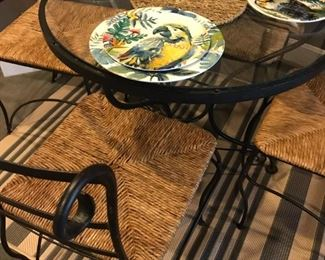 Bistro Set with glass top table and Rattan seat chairs