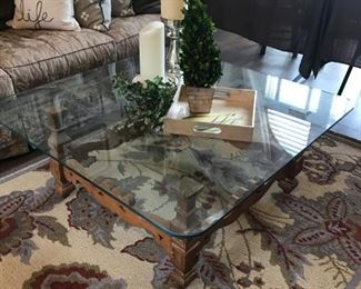 Thick Beveled Glass Cocktail table with hand carved wood base