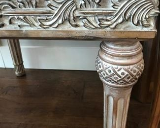 Whitewash carved End table with glass inlay