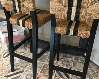 Pair of Seagrass Bar Chairs