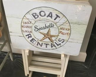 Nautical TV Trays with Stand