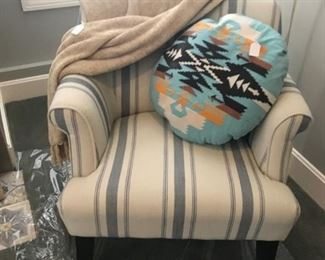 Cream and grey/blue Arm Chair