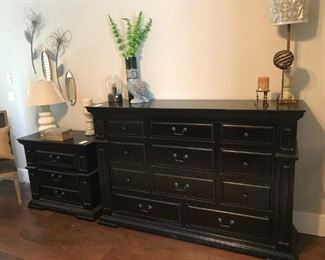 Black Dresser (SOLD)with a mirror and Night Table