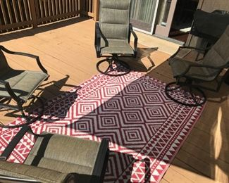Set of 4 Swivel Rocker Patio Chairs and Outdoor rug(Rug SOLD)