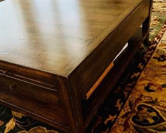 """$995 Detail: Bausman Square Coffee table with self and drawers.  19""""H x 48""""W x 48""""D"""