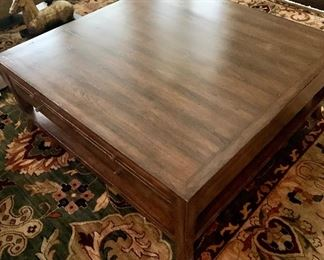 """STUNNING Bausman square coffee table with drawers and lower shelf. 19""""H x 48""""W x 48""""D"""