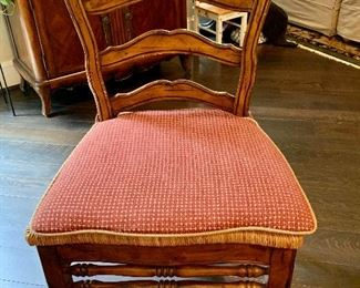 """$1,200 Eight French Country rush seat, ladder back chairs with custom seat cushions (6 side chairs, 2 arm chairs) 39.5""""H x 19""""D x 21.5""""W"""