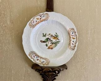 """$35 Pair Chelsea House Bird plates (Plate stand not for sale.) Plate 10.25""""D."""