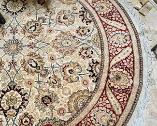 """$495 Hand knotted round rug.  Made in Pakistan; 6'2""""D"""