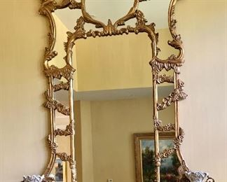 "$1,295 Hand carved baroque mirror.  84""H x 47""W"