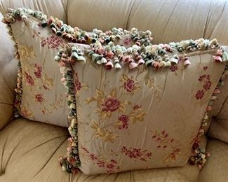 """$250 Pair A ; Ebanista Embroidered silk floral pillows with tassel trim.  Approx 18"""" square."""