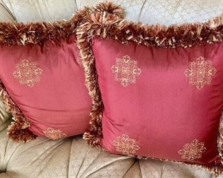 """$250 Pair Embroidered red silk pillows with lush fringe trim.  Approx 18"""" square"""
