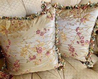 """$250 Pair B; Ebanista Embroidered silk fabric pillows with tassel trim.  Approx 18"""" square."""