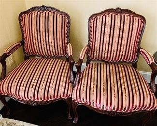"$1,750 Pair Louis Solomon Louis XV style armchair; custom upholstered in Beacon Hill striped fabric with rope trim; 38.25""H x 24""D x 28""W"