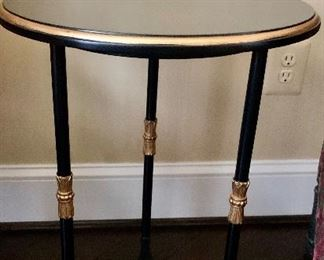 """$295 Hickory Chair """"Frances"""" black table with gold accents 24.25""""H x 18""""D"""
