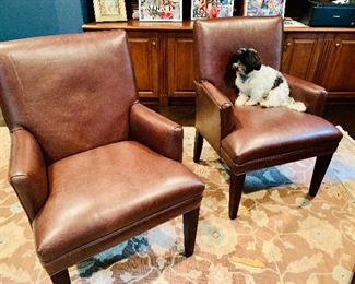 """$700 Pair of two leather upholstered arm chairs; 37""""H x 24""""D x 27""""W (dog not for sale!)"""