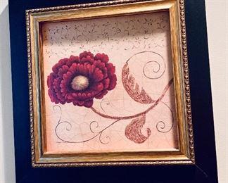 """$40 Framed decorative floral art #2; 17.25"""" x 17.25"""""""