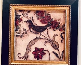 """$40 Framed decorative floral art #3; 17.25"""" x 17.25"""""""