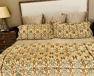 Custom king duvet and king pillow shams (Headboard and euro shams not for sale)