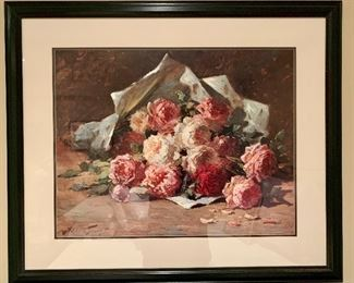 """$80 Abbot Graves floral print.  Matted and framed with glass;  32.25""""H x 38.5""""W"""