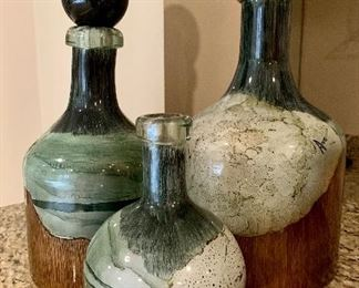 """$95 Set of three decorative jars.  As is (one jar missing top) Tallest 18""""H, second tallest 15.5""""H x smallest 9.5""""H"""