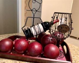 """$50 All Sommelier wine bottle holder 17.5""""H. Wine cork holder 12"""", Tray 19.5""""W x 13.5""""D"""