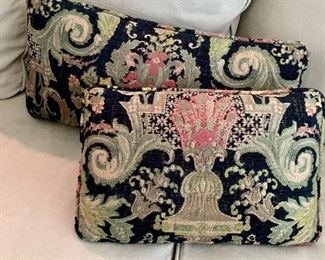 """$75 Two custom brocade corded pillows in black, greens and pink; 12.5""""W x 24""""L  and  13""""W x 19""""L"""