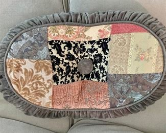 """$45 Custom oval patchwork pillow with ruffle trim and tuft; 15""""W x 25""""L"""