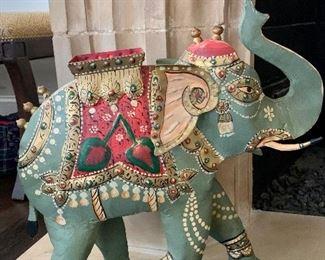 "$75 Decorative elephant figural sculpture 16""H"