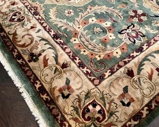 """$795 Area rug in greens, taupe and cranberry;  9'10""""W x 13'8.5""""L"""