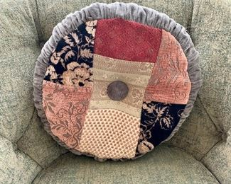 """$40 Custom patchwork round pillow with shirred sides and single tuft; 16.5""""D"""