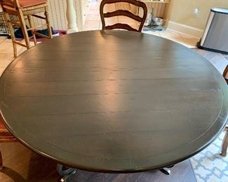 """Detail:  French Country wooden topped wrought iron base breakfast table.  60"""" diameter"""