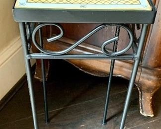 """$50 Tile topped metal plant stand.  Approx 20""""H x 8""""W x 8""""D."""