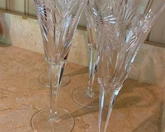 $80 Set of 4 Waterford crystal Millennium Happiness tulip stem champagne flutes.