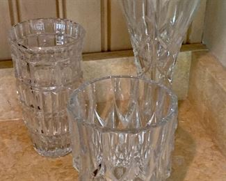 Detail:  Collection of cut crystal vases