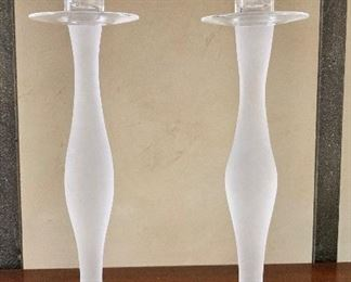 """$150 Pair Orrefors """"Celeste"""" frosted candlesticks.  Approx 12"""" tall."""