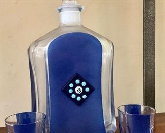 """$48 Capo Arte Murano glass decanter.  Glasses """"as is"""" - one chipped."""