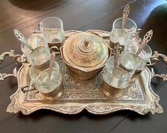 $65 Turkish coffee set - silver plate