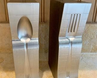 """$22. Set of two utensil themed bookends.  Each apex 10"""" high."""