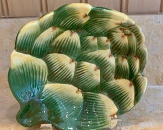 """$20 Glazed ceramic artichoke plate; 7""""L"""