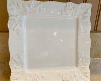 """$22 Decorative white square serving plate; Appro 12"""" square"""