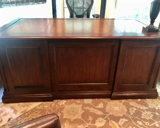 "$795 Sligh mahogany pedestal desk; 31""H x 36""D x 72""W"